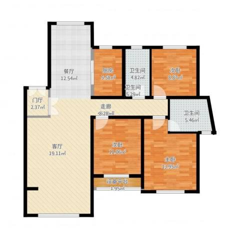新公馆3室1厅3卫1厨135.00㎡户型图