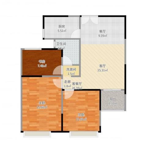 绿地新都会3室1厅1卫1厨98.00㎡户型图