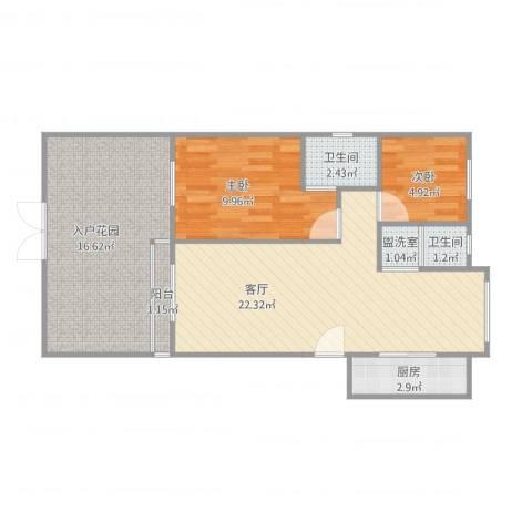 宝翠花都听景园2室2厅2卫1厨85.00㎡户型图