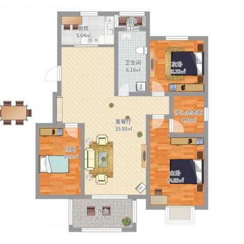 苏商御景湾3室1厅1卫1厨136.00㎡户型图