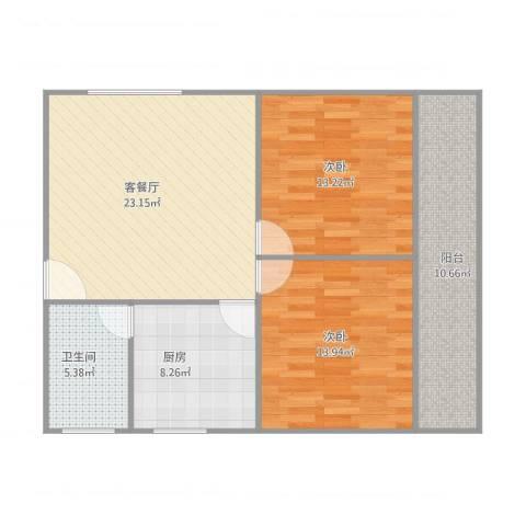 建发宿舍2室1厅1卫1厨100.00㎡户型图