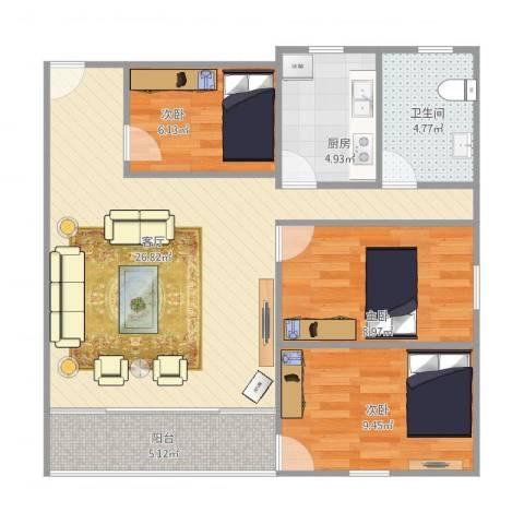 金湖花园3室1厅1卫1厨90.00㎡户型图