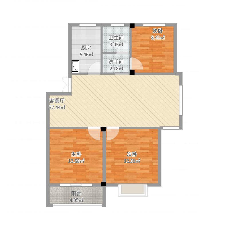 绍兴-大通楠苑-三室二厅一厨一卫-103.78平方