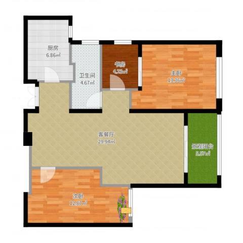 新地中心3室1厅1卫1厨108.00㎡户型图