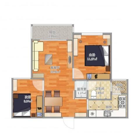 康桥月苑2室4厅1卫1厨76.00㎡户型图