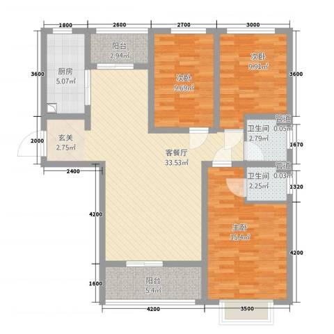 天鸿尚都3室1厅2卫1厨129.00㎡户型图