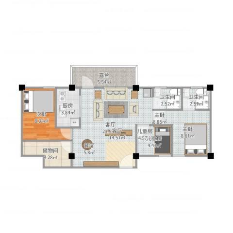 力子园3室1厅2卫1厨88.00㎡户型图