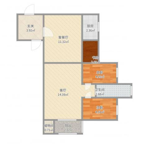 嘉益大厦3室2厅1卫1厨67.00㎡户型图