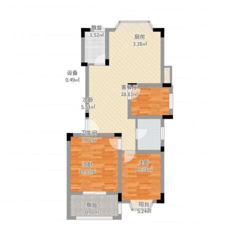 国光山水间3室1厅1卫1厨102.00㎡户型图