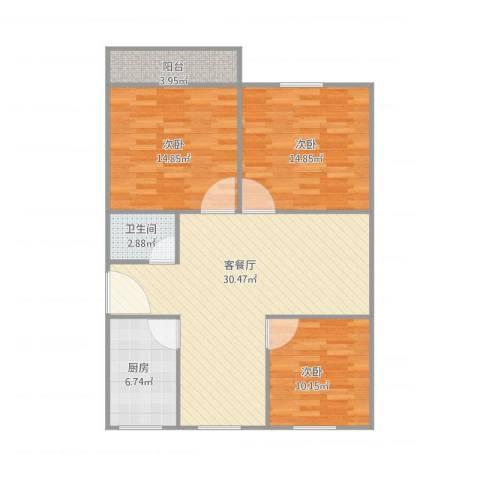 建发宿舍3梯01户型3室1厅1卫1厨112.00㎡户型图