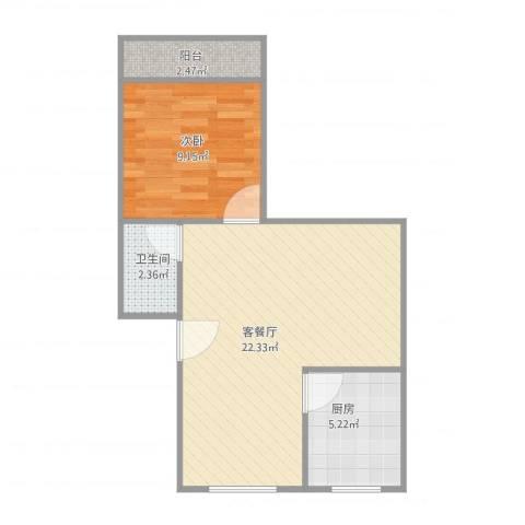 建发宿舍4梯01户型1室1厅1卫1厨56.00㎡户型图