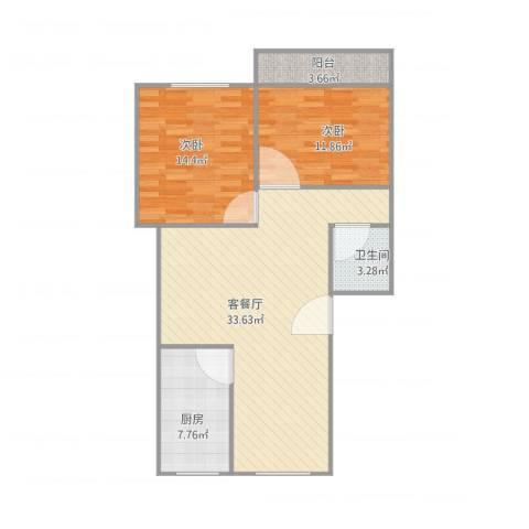 建发宿舍4梯02户型2室1厅1卫1厨100.00㎡户型图