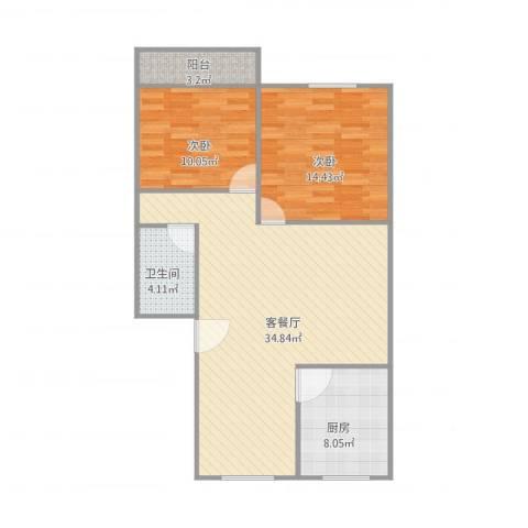建发宿舍5梯01户型2室1厅1卫1厨100.00㎡户型图