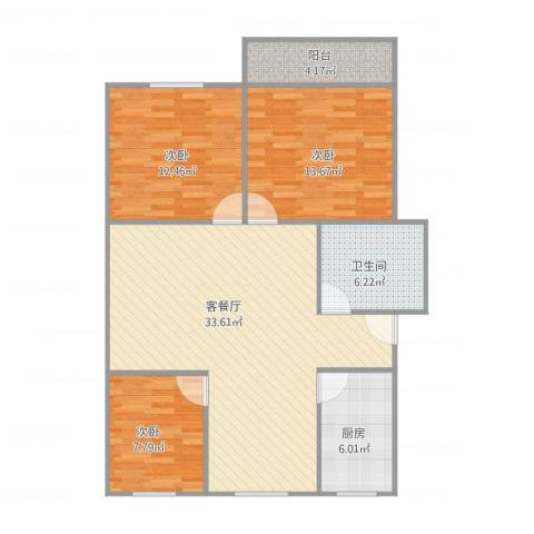 建发宿舍5梯02户型3室1厅1卫1厨112.00㎡户型图
