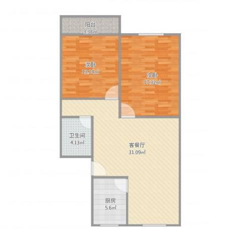 建发宿舍6梯01户型2室1厅1卫1厨100.00㎡户型图