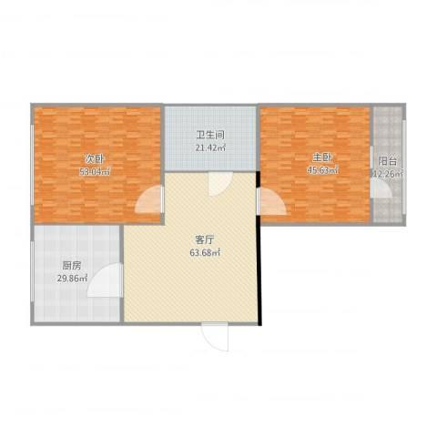 本溪楼2室1厅1卫1厨300.00㎡户型图