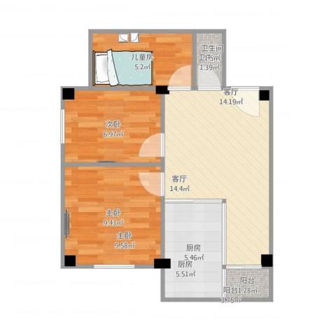 侨德花园3室1厅1卫1厨61.00㎡户型图