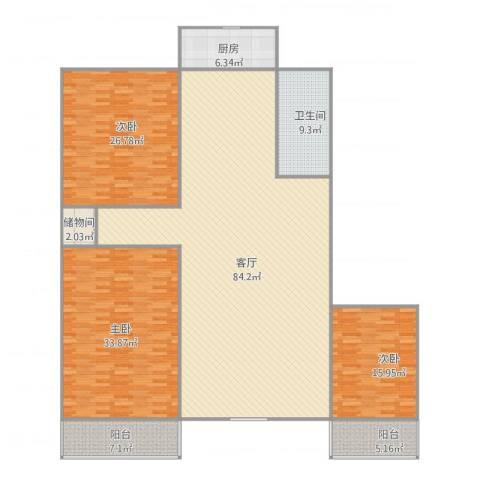 六里山南路宿舍3室1厅1卫1厨251.00㎡户型图