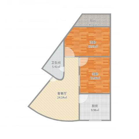建发宿舍2梯01户型2室1厅1卫1厨100.00㎡户型图