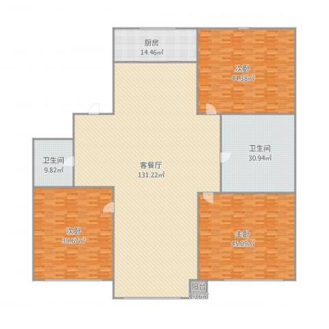 绿波花园3室1厅2卫1厨411.00㎡户型图