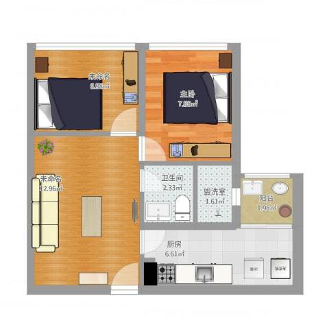 两江慧谷1室2厅1卫1厨59.00㎡户型图