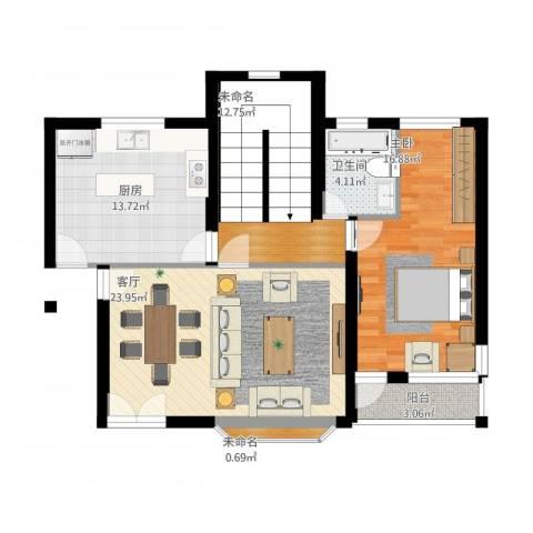 书院桃园自建别墅1号1室1厅1卫1厨108.00㎡户型图