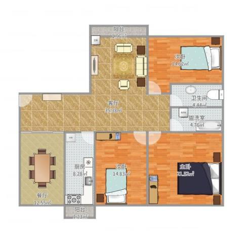 滨海御庭3室4厅1卫1厨160.00㎡户型图