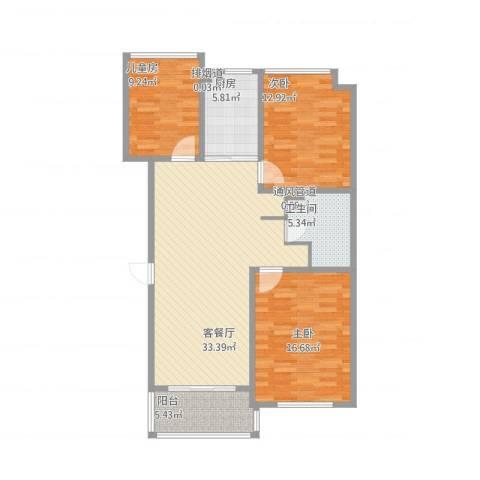 淞南十村3室2厅2卫2厨124.00㎡户型图