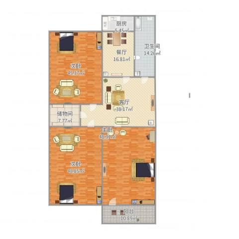 洪楼小区3室2厅1卫1厨307.00㎡户型图