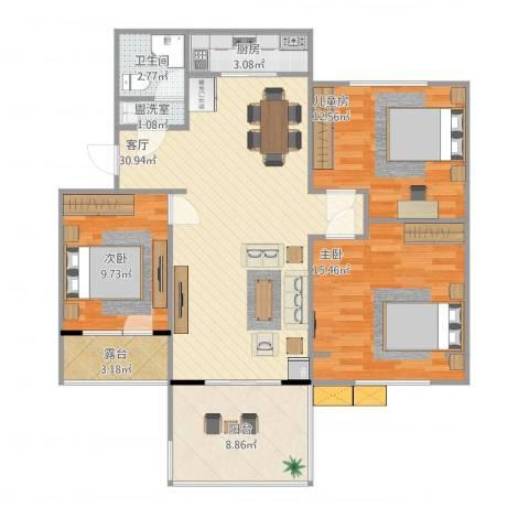 临沂元丰家园3室3厅1卫1厨118.00㎡户型图