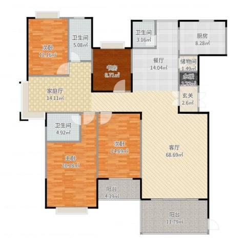 天一康园4室1厅4卫1厨224.00㎡户型图