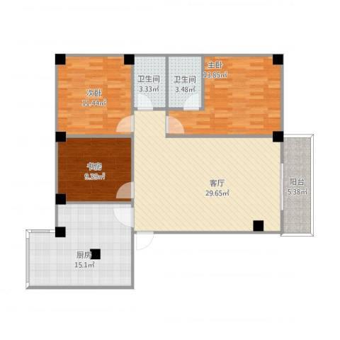 三源弘3室1厅2卫1厨125.00㎡户型图
