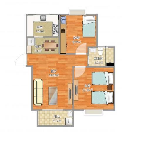 翔泰嘉苑23号25012室2厅1卫1厨76.00㎡户型图