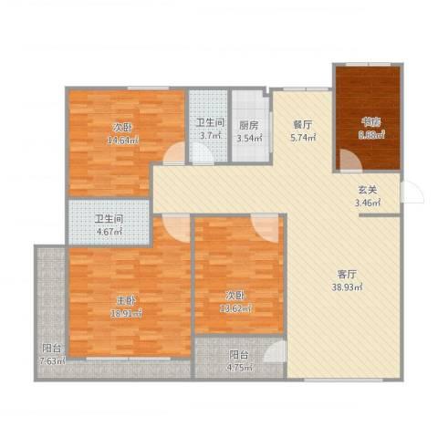 欧洲城4室2厅2卫1厨168.00㎡户型图