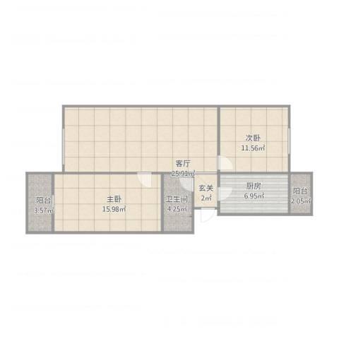 龙腾苑四区2室1厅1卫1厨97.00㎡户型图
