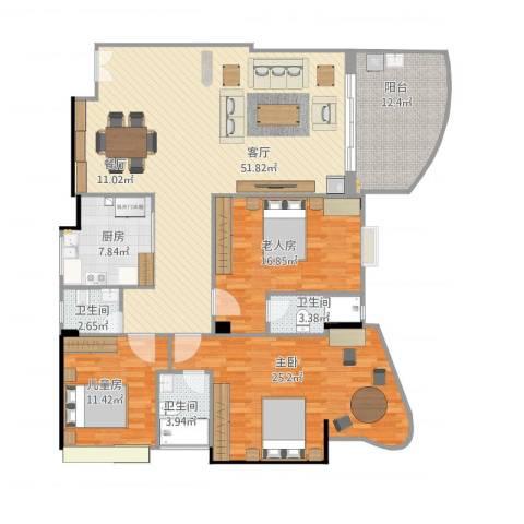 东堤湾3室1厅3卫1厨183.00㎡户型图