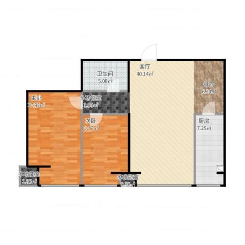 水木清华2室1厅1卫1厨112.00㎡户型图