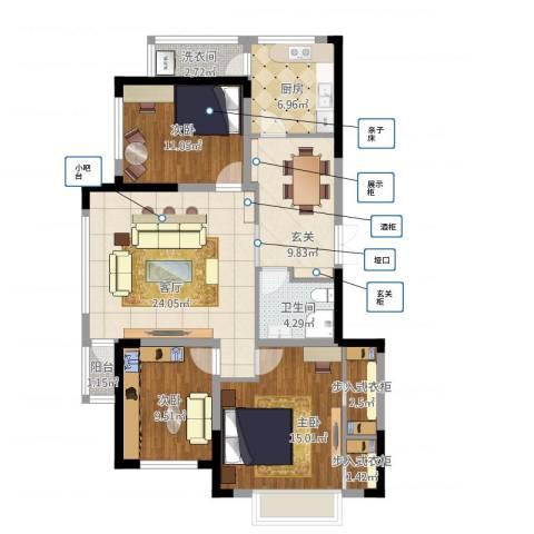 乌苏里江二期k栋3室1厅1卫1厨127.00㎡户型图