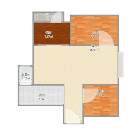 城中路3室1厅1卫1厨106.00㎡户型图