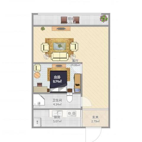 万和里1室1厅1卫1厨69.00㎡户型图
