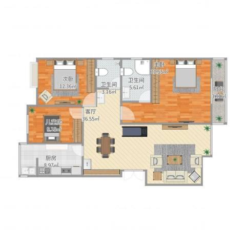 东城国际3室1厅2卫1厨135.00㎡户型图