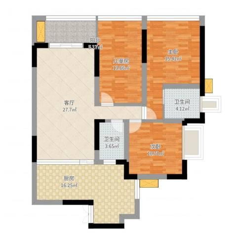 祥和御馨园二期3室1厅2卫1厨143.00㎡户型图