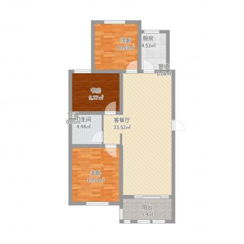 德仁・翡翠城3室2厅3卫1厨116.00㎡户型图