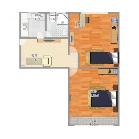 艾南小区2室1厅1卫1厨68.00㎡户型图