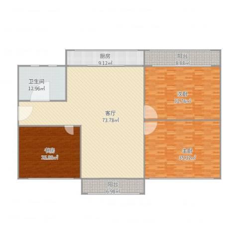 文萃轩小区3室1厅1卫1厨270.00㎡户型图