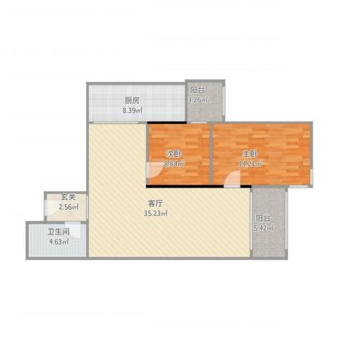 天创世缘2室1厅1卫1厨111.00㎡户型图