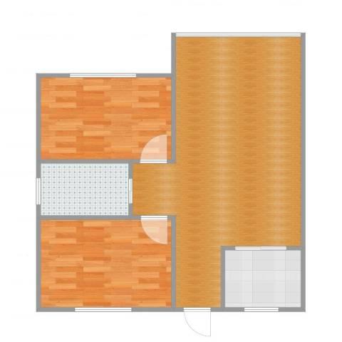 湖畔佳苑2室2厅1卫1厨69.00㎡户型图