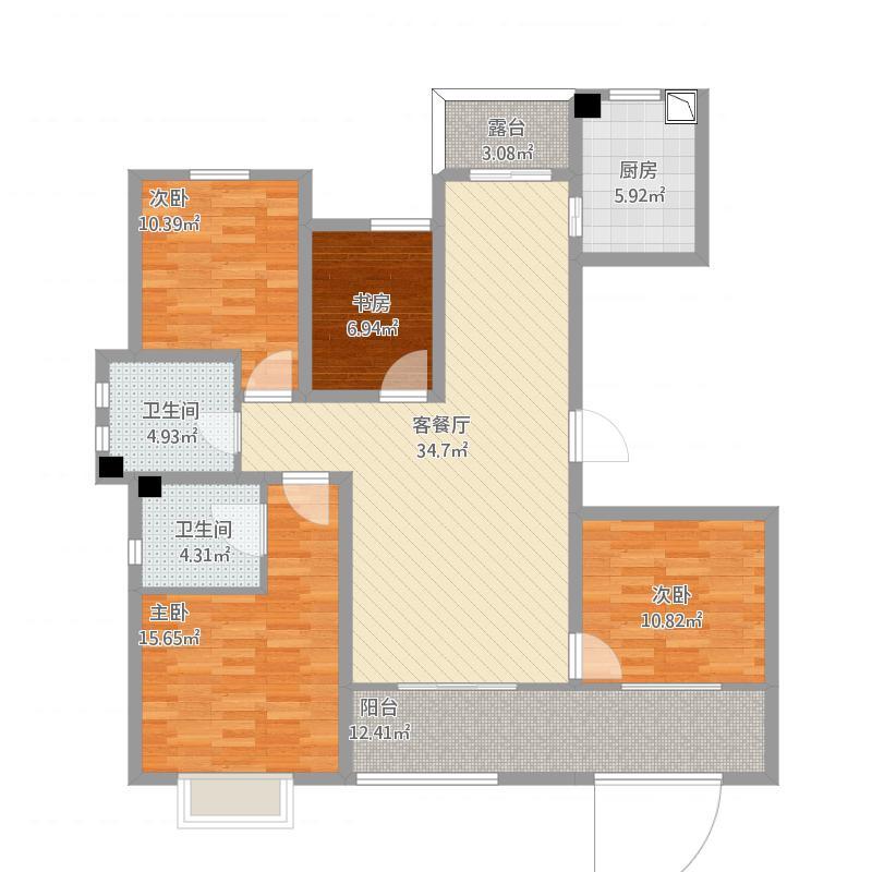 108#112#楼偶数层户型图123.7㎡