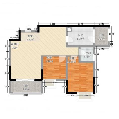 天府丽正2室2厅1卫1厨86.00㎡户型图