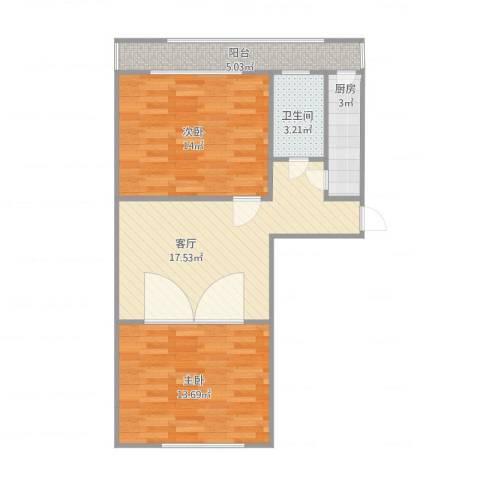 延长里2室1厅1卫1厨77.00㎡户型图